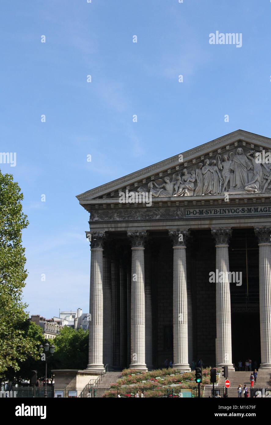 Front entrance of the L'église Sainte-Marie-Madeleine (La Madeleine / Madeleine Church), Paris, France. Stock Photo