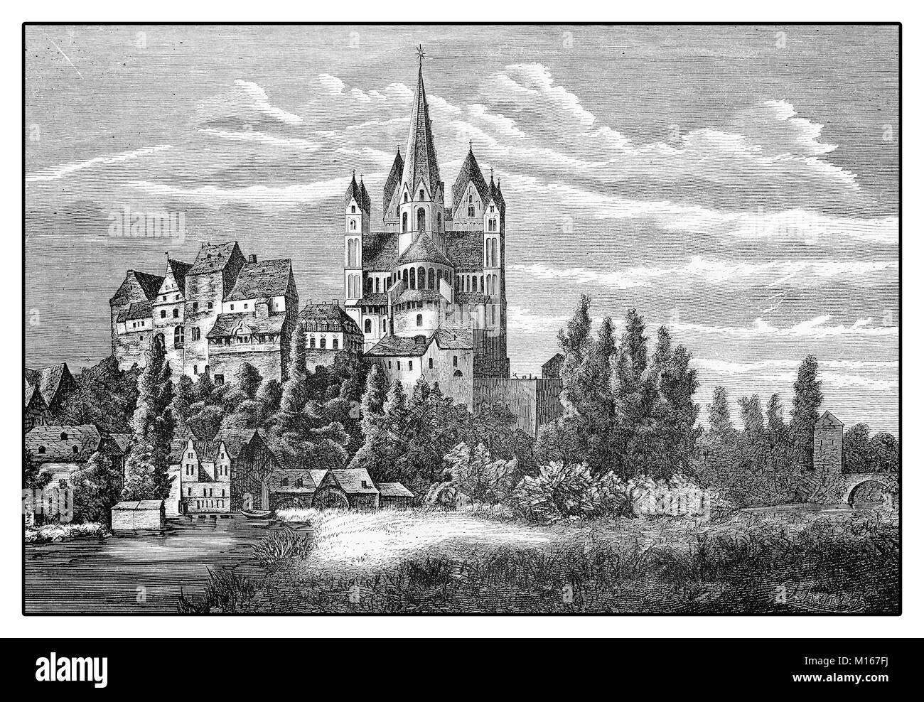 Germany, vintage view of Limburg an der Lahn with the prominent Catholic Cathedral - Limburger Dom -  dedicated Stock Photo