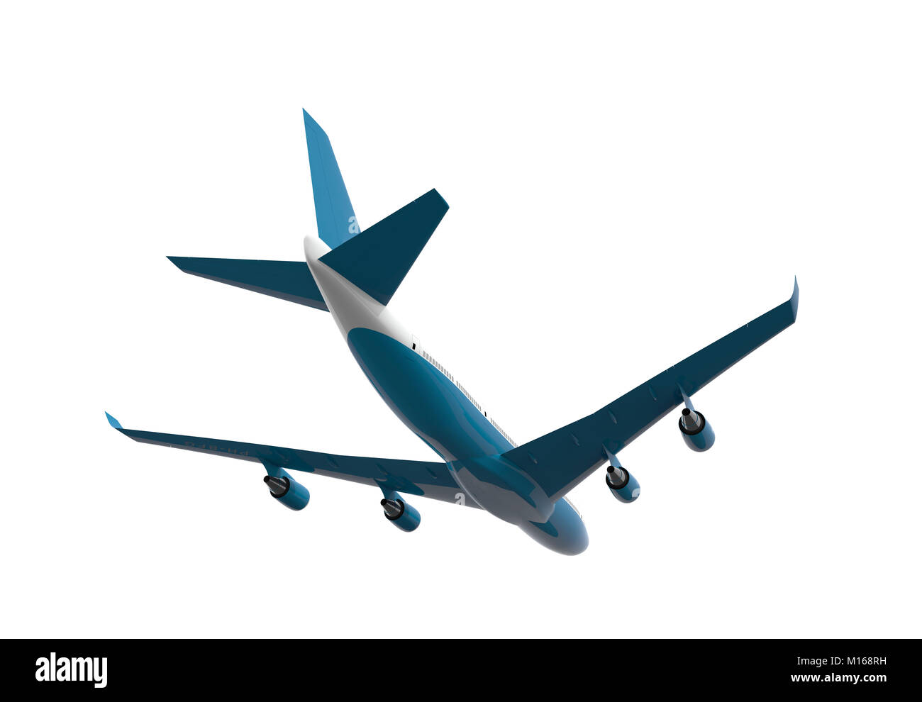 Back of a blue and white airplane isolated on a white background: 3D illustration - Stock Image