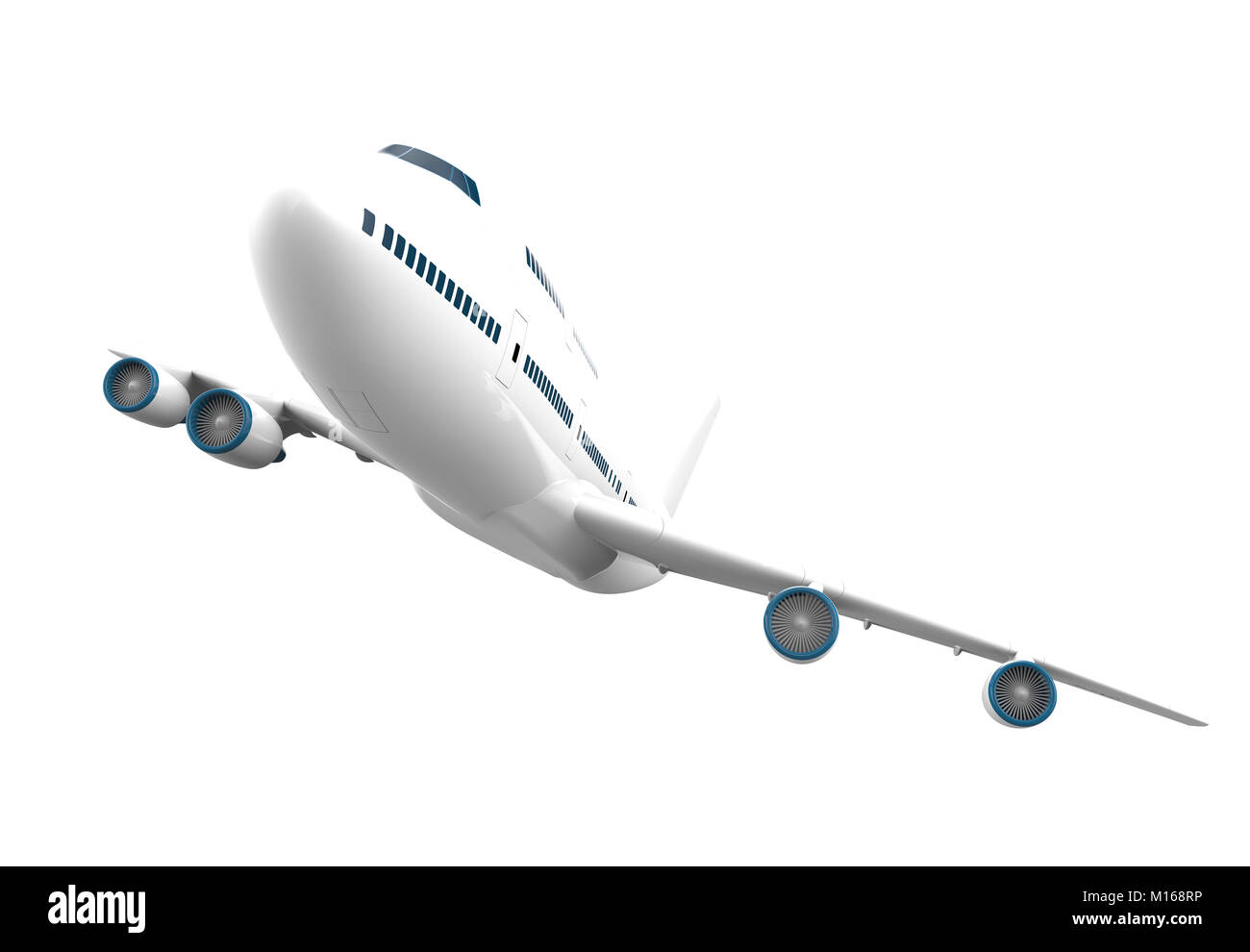 Big airplane isolated on a white background: 3D illustration - Stock Image