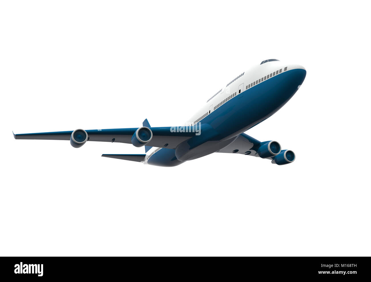 Blue and white airplane isolated on a white background: 3D illustration - Stock Image