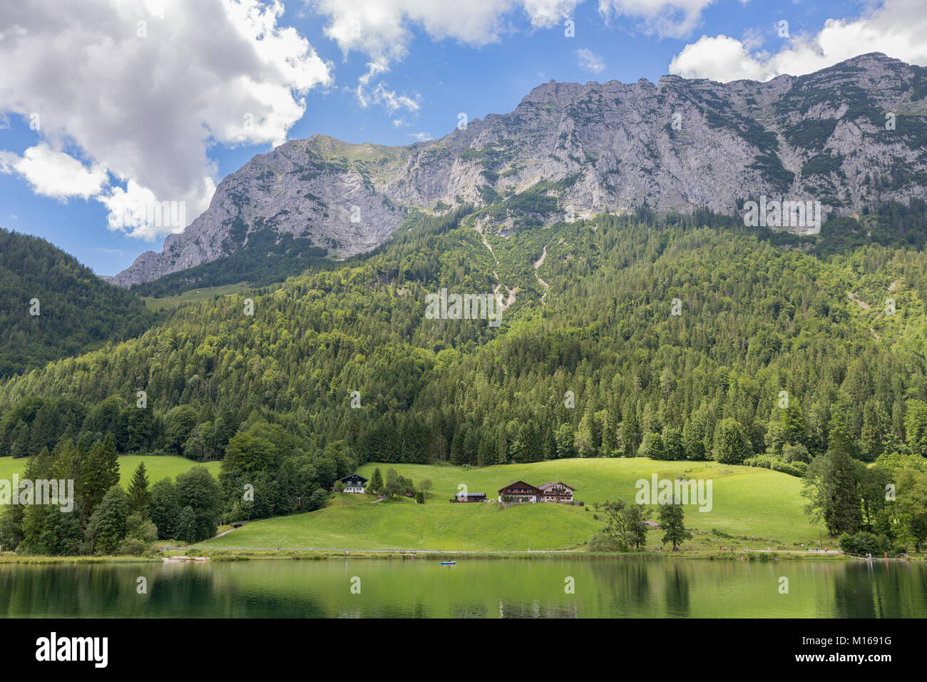Lake Hintersee near Ramsau in Bavarian alps with hotels Stock Photo