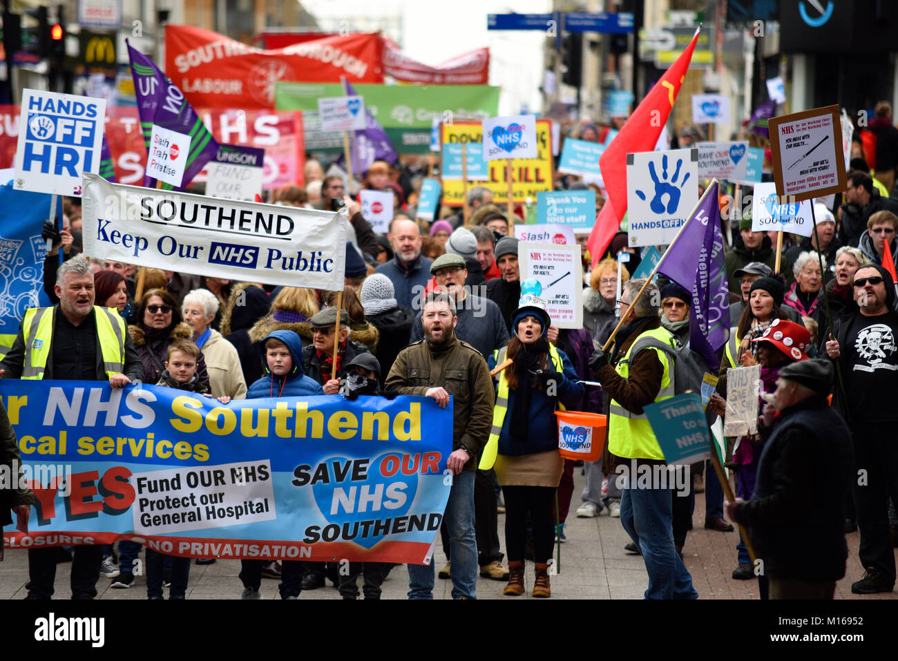 Protesters gathered to rally against further cuts and restructuring to Southend Hospital and Basildon and Broomfield hospitals Stock Photo