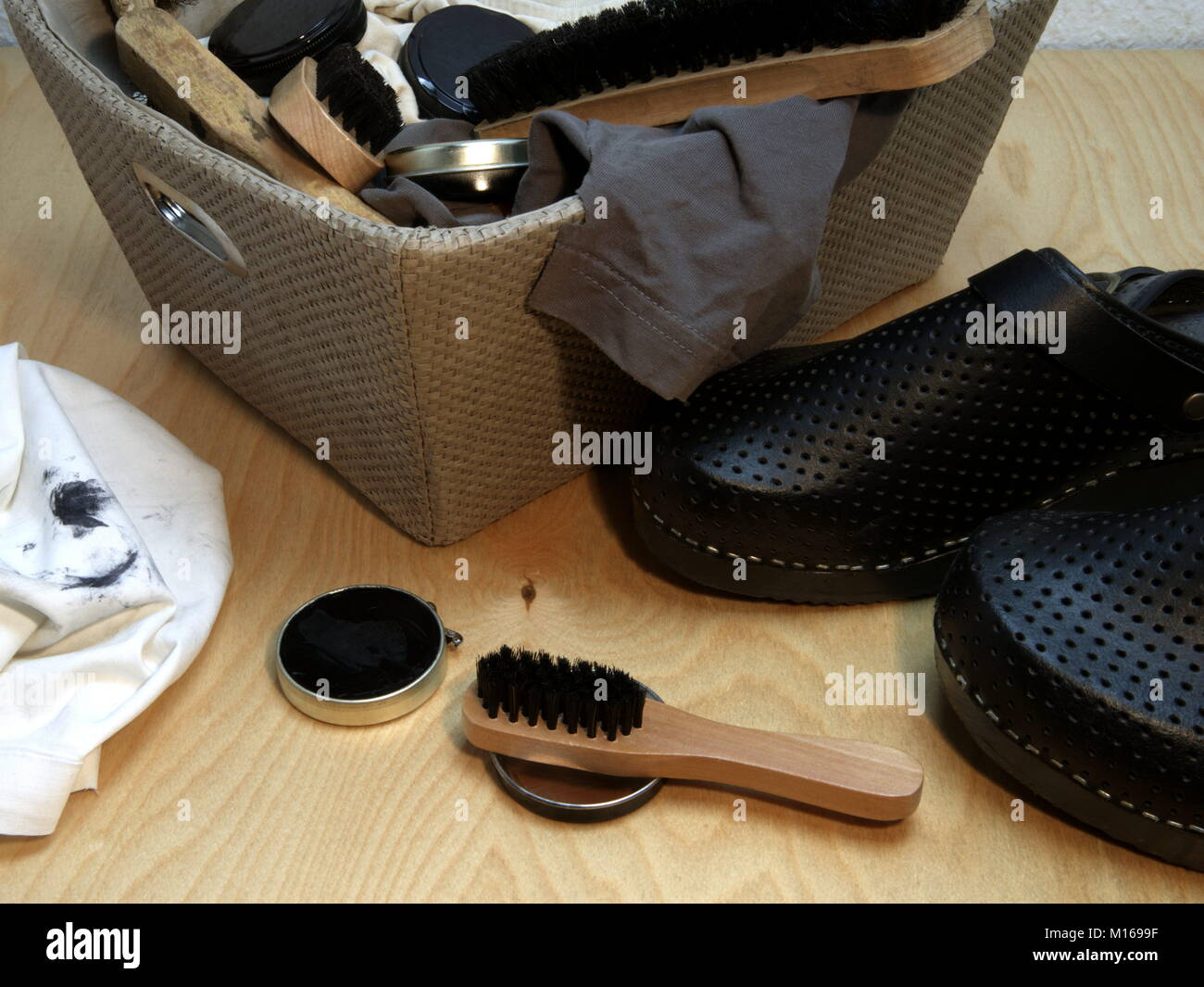 Cleaning utensils for shoes - Stock Image