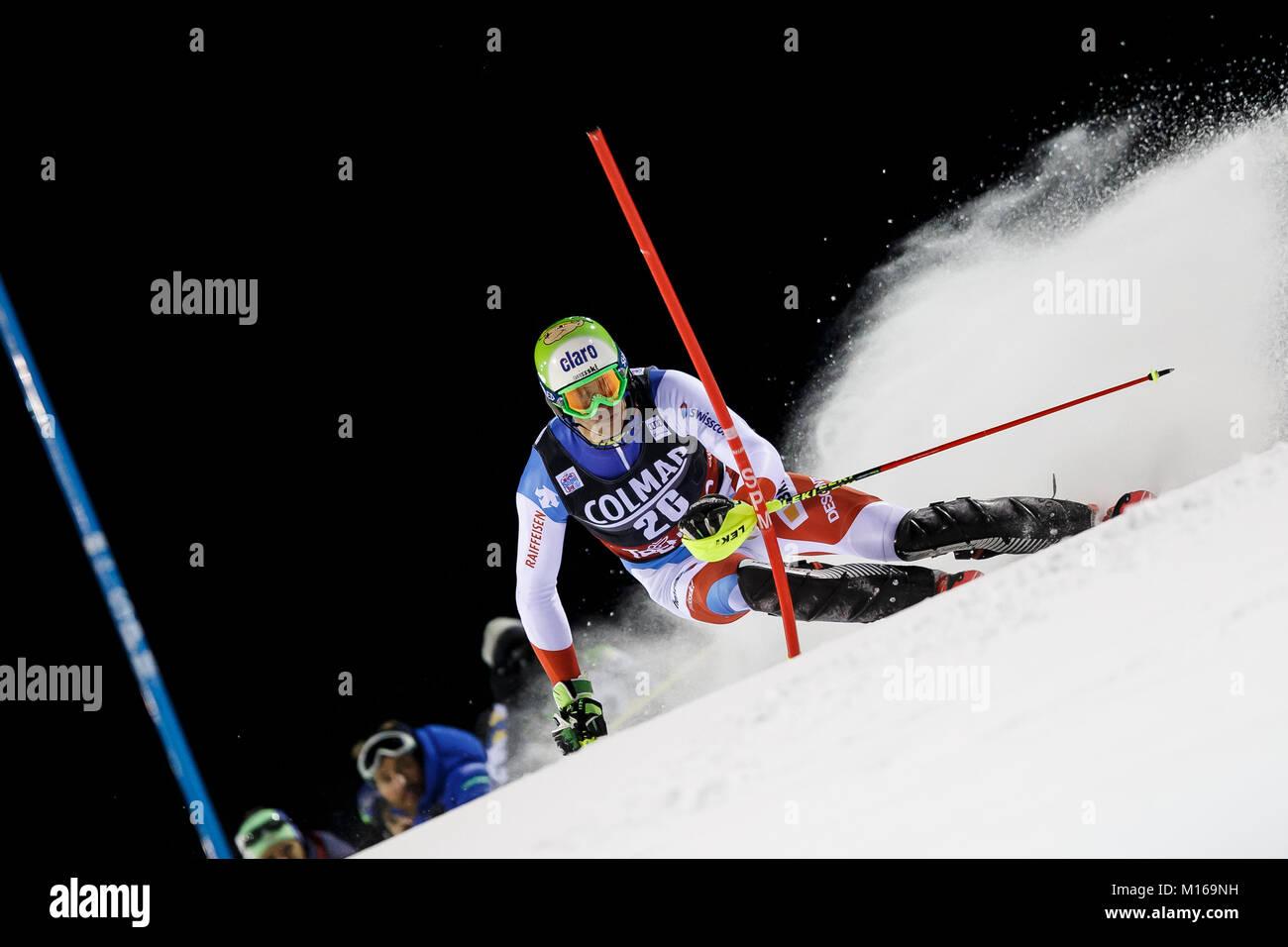 Madonna di Campiglio, Italy 22 December 2017.  ZENHAEUSERN Ramon (Swi) competing in the Audi Fis Alpine Skiing World - Stock Image