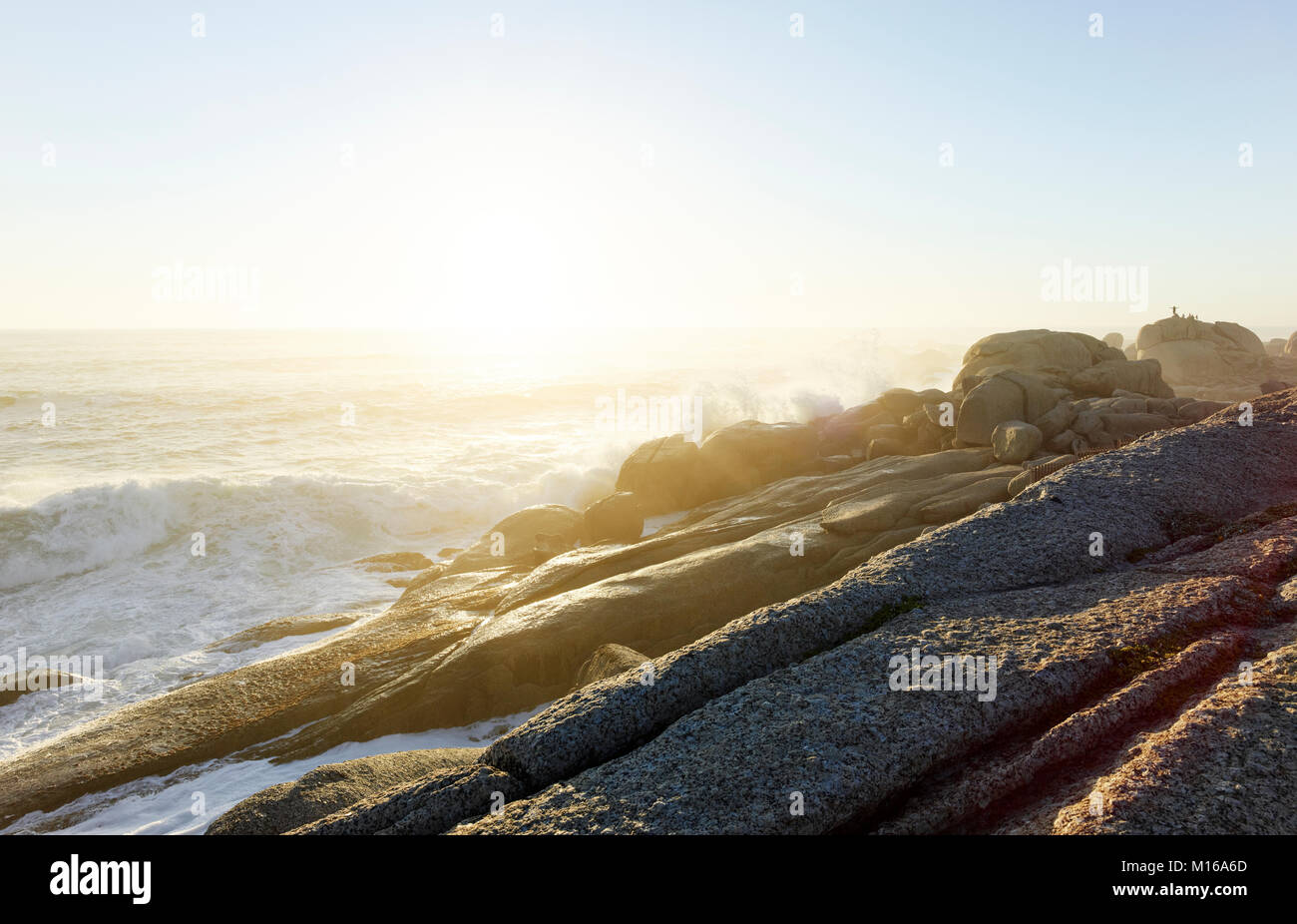 Rocks at Camps Bay, Cape Town, Western Cape, South Africa - Stock Image
