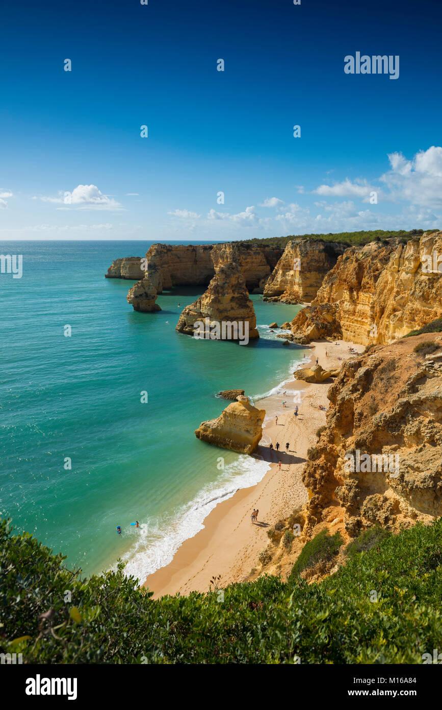 Beach and coloured rocks, Praia da Marinha, Carvoeiro, Algarve, Portugal Stock Photo
