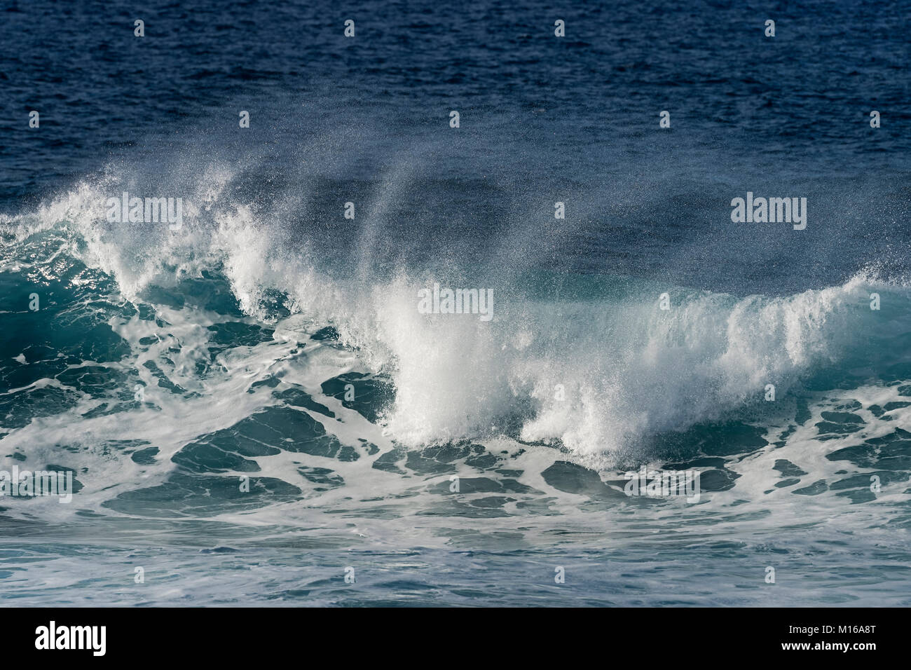 Surf in the Pacific Ocean, Easter Island, Valparaiso, Chile, Polynesia, Oceania - Stock Image