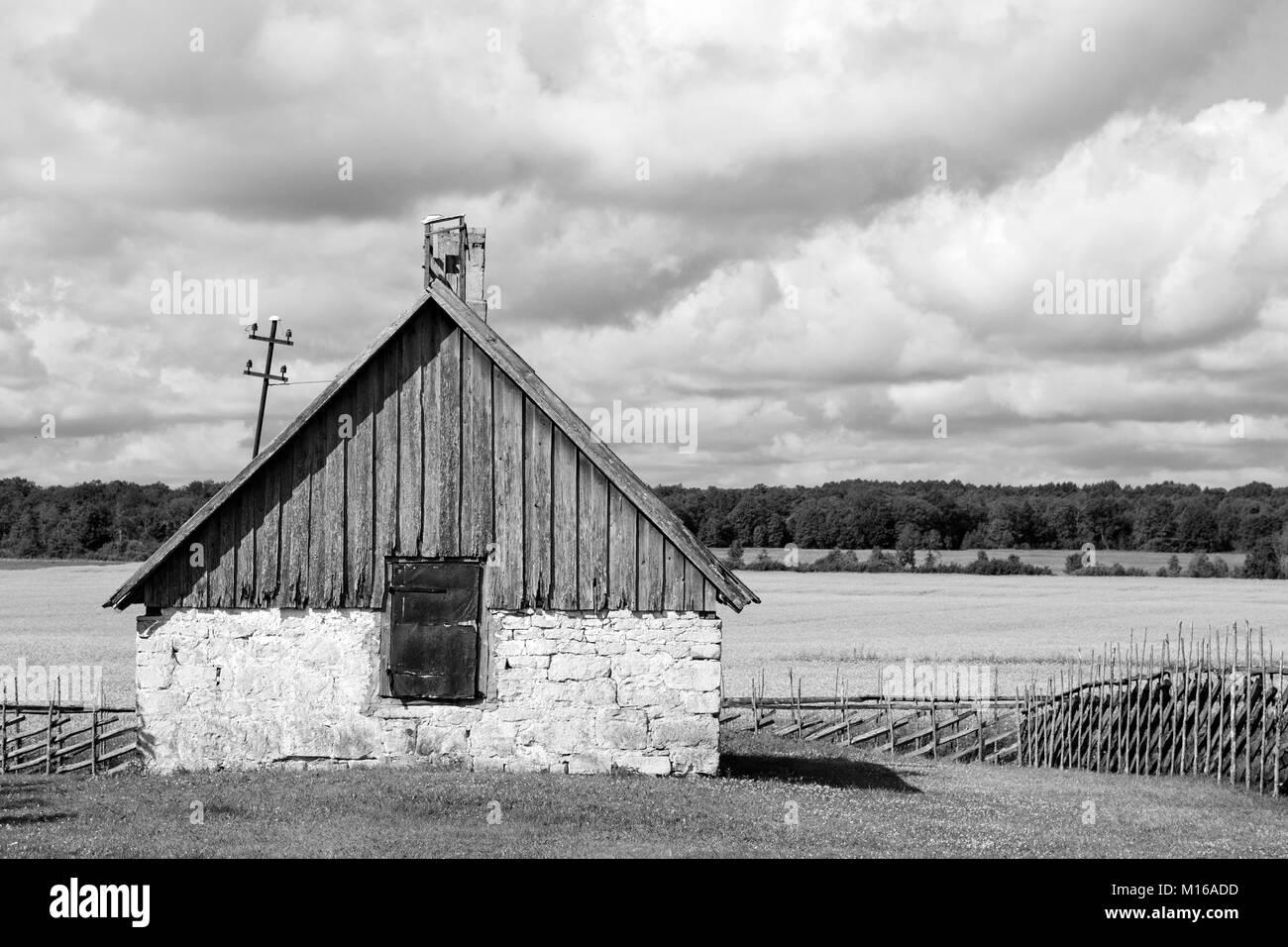Old Farmhouse in Angla Heritage Culture Center at Saaremma island, Estonia - Stock Image
