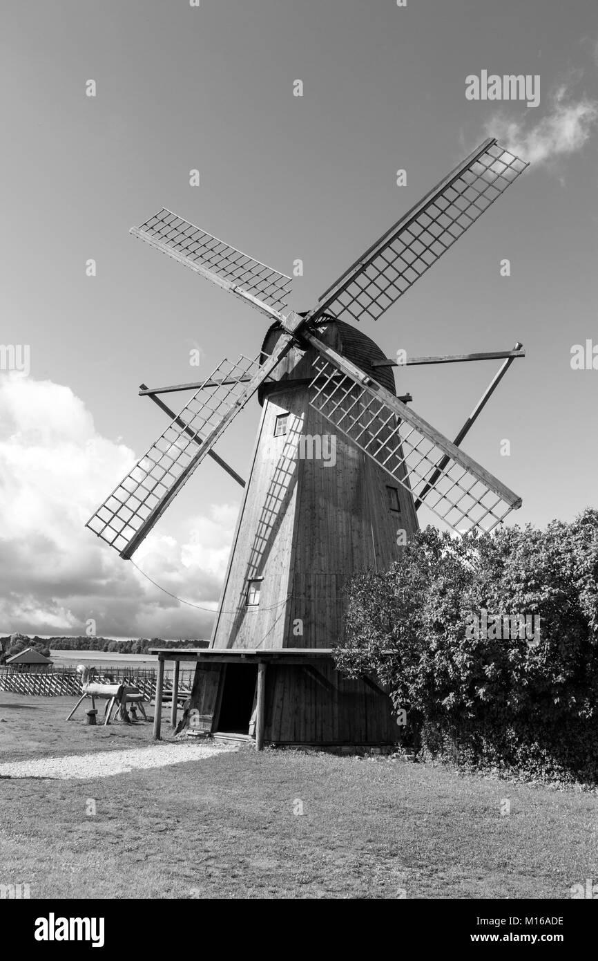 Old windmill in Angla Heritage Culture Center. A Dutch-style windmills at Saaremma island Estonia - Stock Image