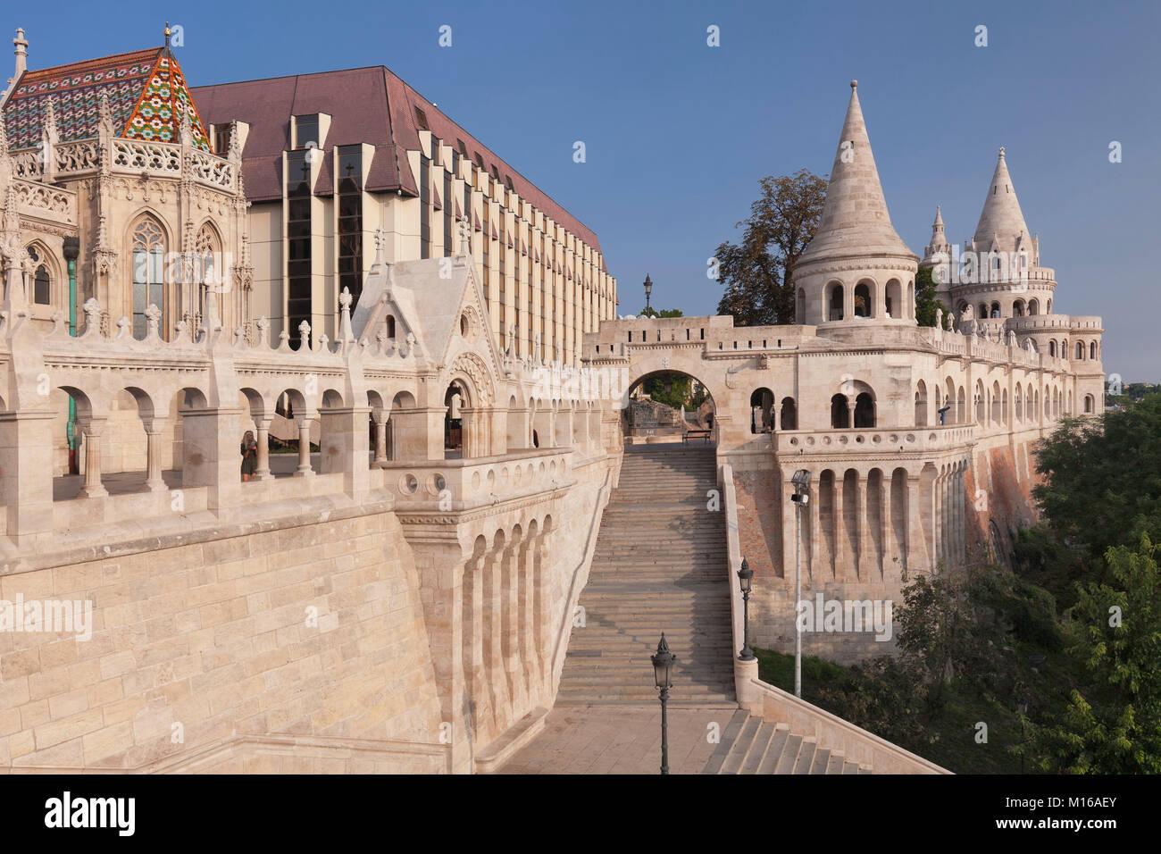 Fishermen's bastion on Buda Castle, Budapest, Hungary - Stock Image