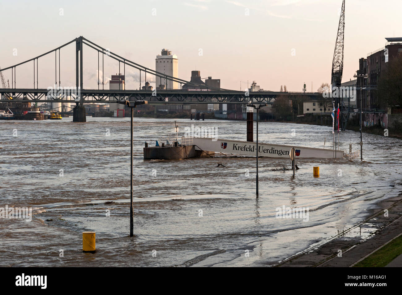 Flooding on the River Rhine, Krefeld, NRW, Germany. - Stock Image