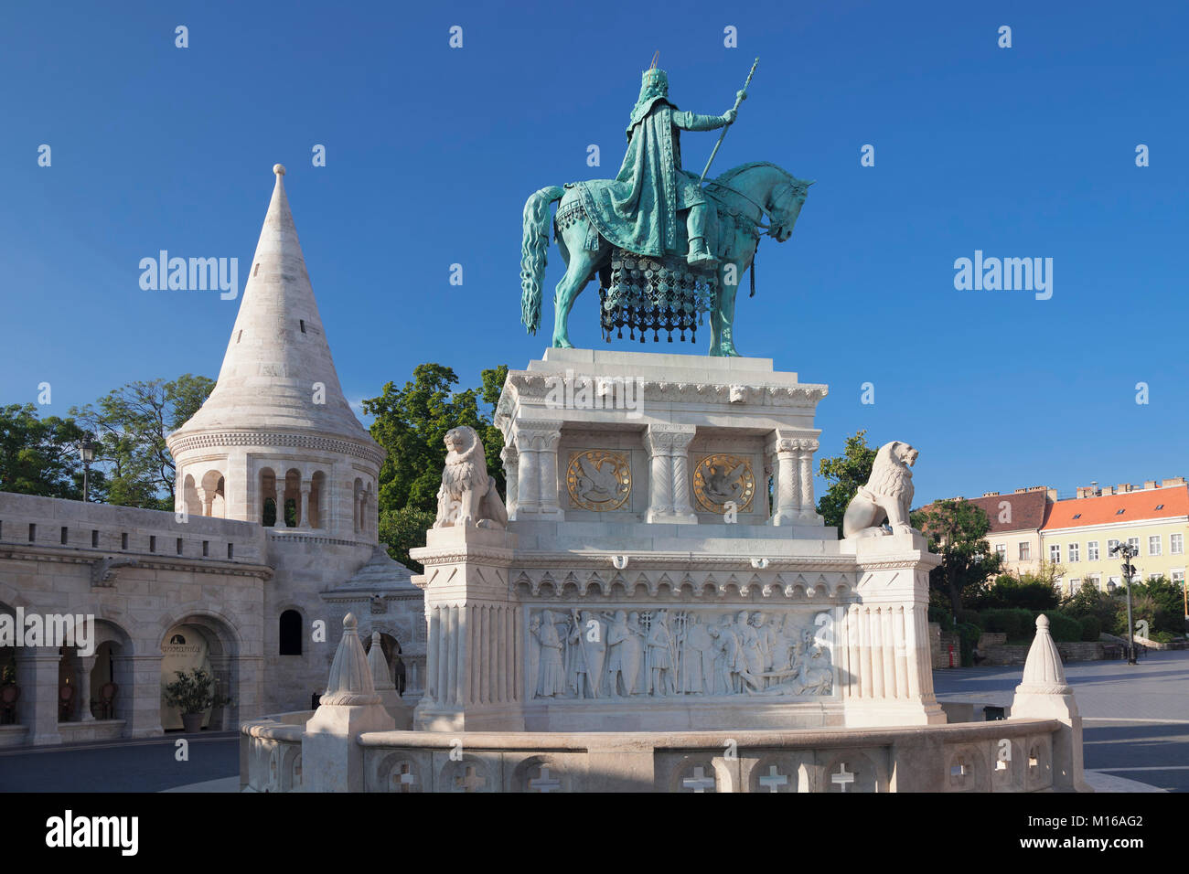 Portrait of King Stephan I, Fishermen's bastion at the castle hill of Buda, Budapest, Hungary Stock Photo