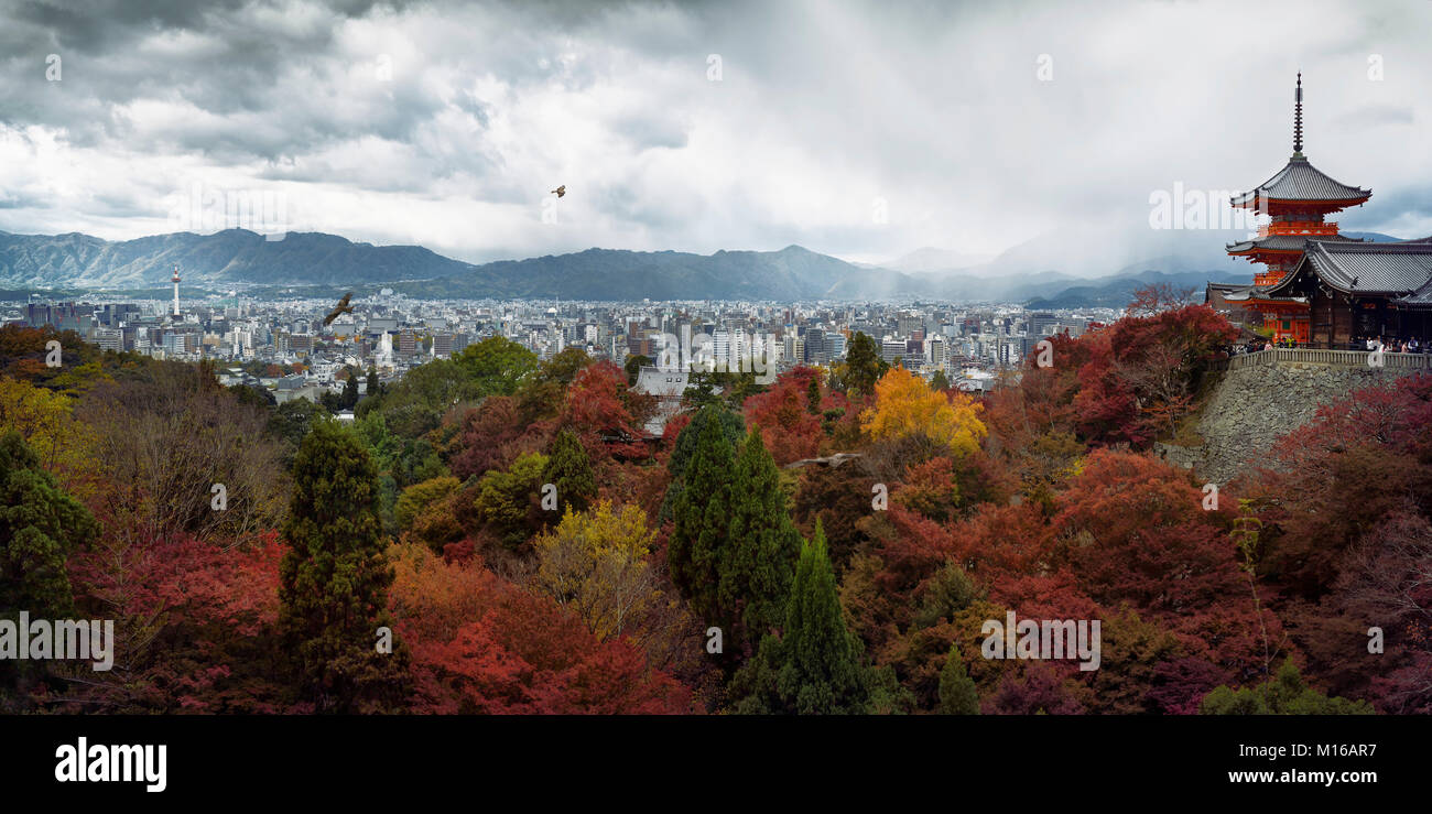 Panoramic view of cityscape with Sanjunoto pagoda, eagles flying in stormy skies and colorful autumn trees in the Stock Photo