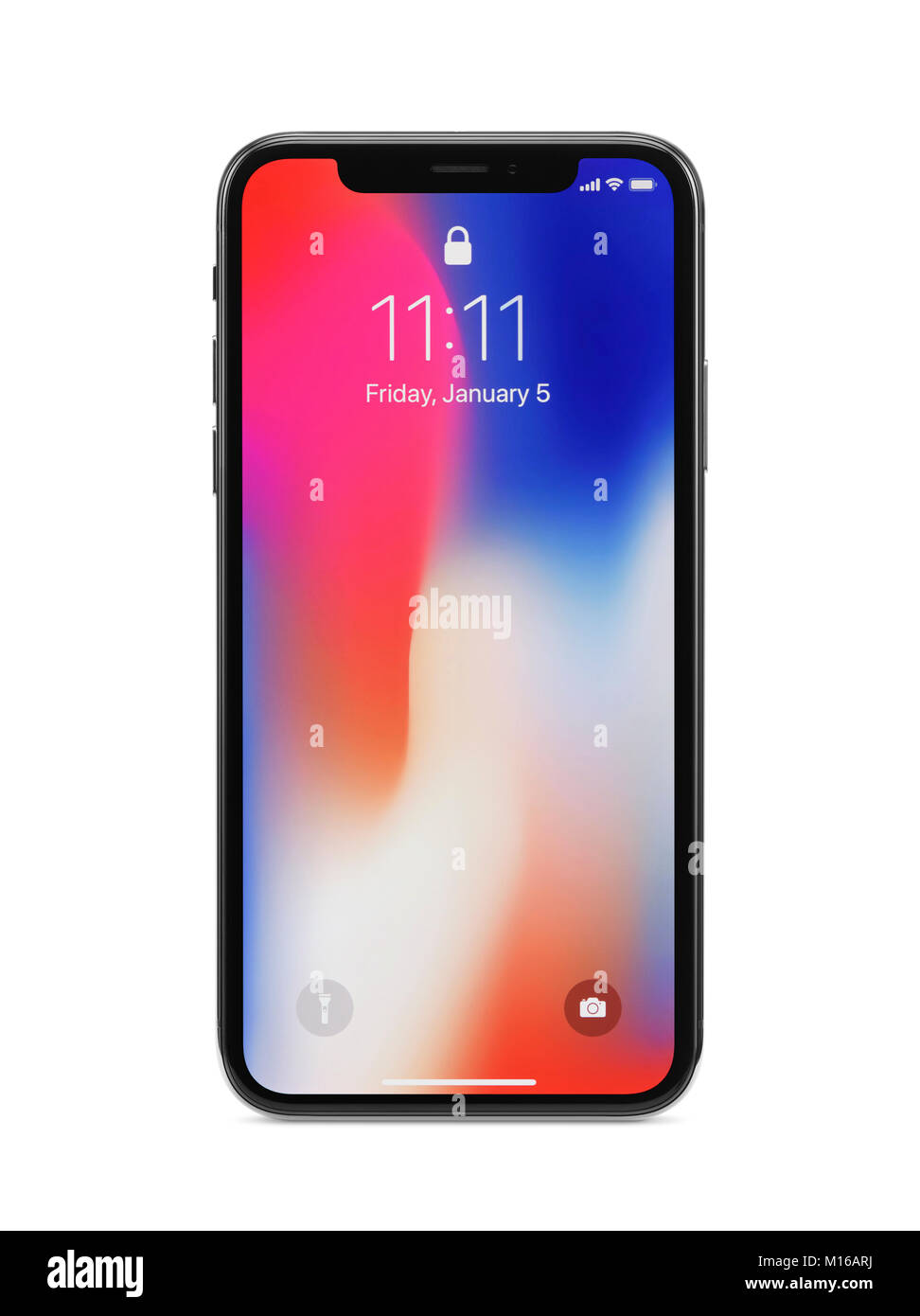 Apple iPhone X, large screen smartphone, with locked screen on its display, front and back, studio shot - Stock Image