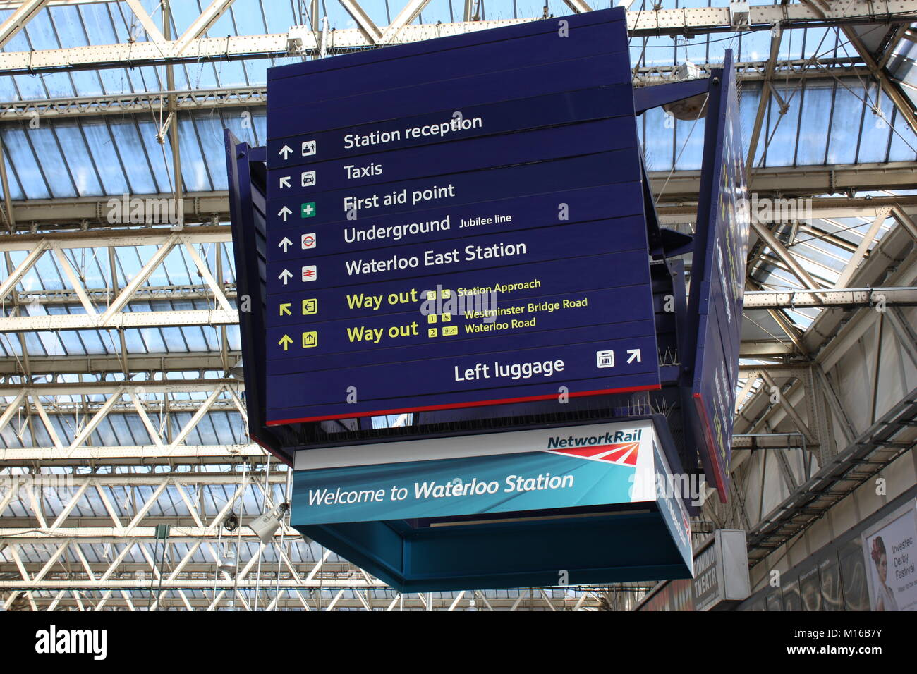 Direction board in Waterloo train station in London, UK Stock Photo