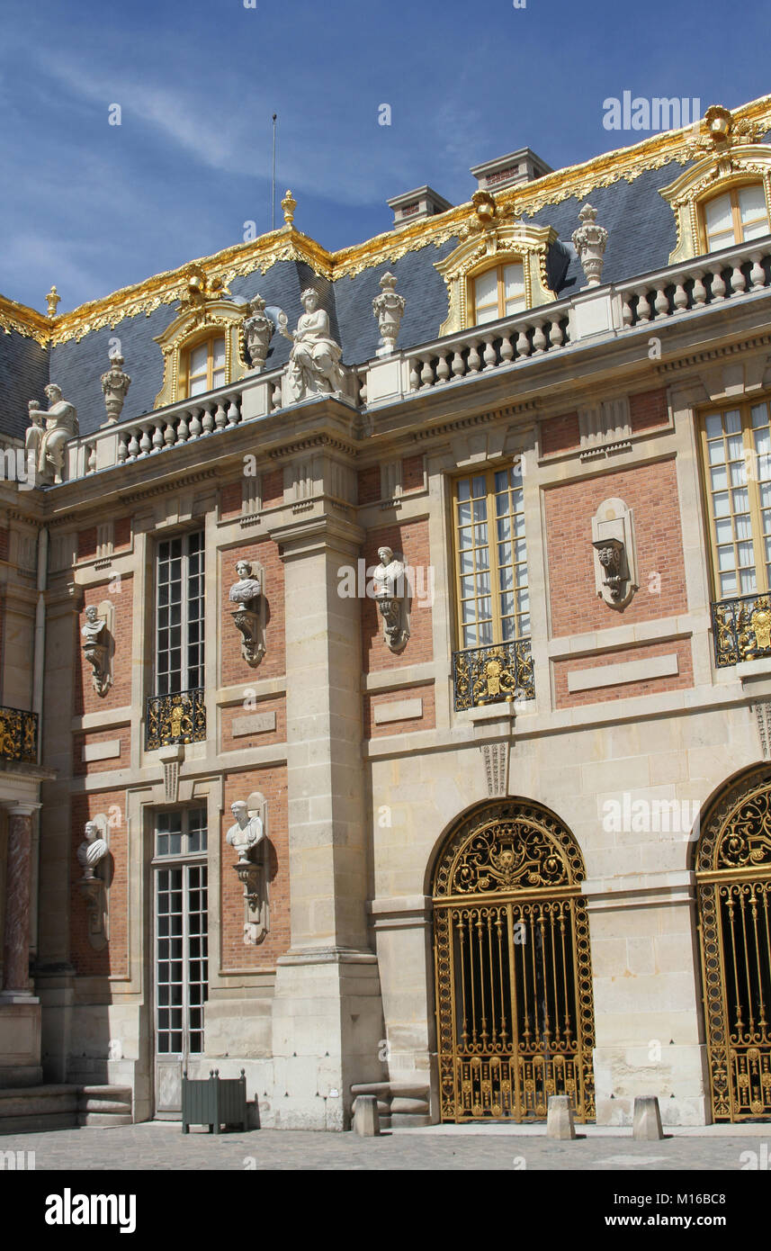 The Marble Court of the Versailles Palace, Ile-de-France, France. Stock Photo