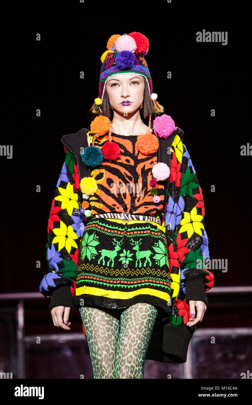 London Fashion Week Model Wearing Colourful Outfit Designed By Stock Photo Alamy