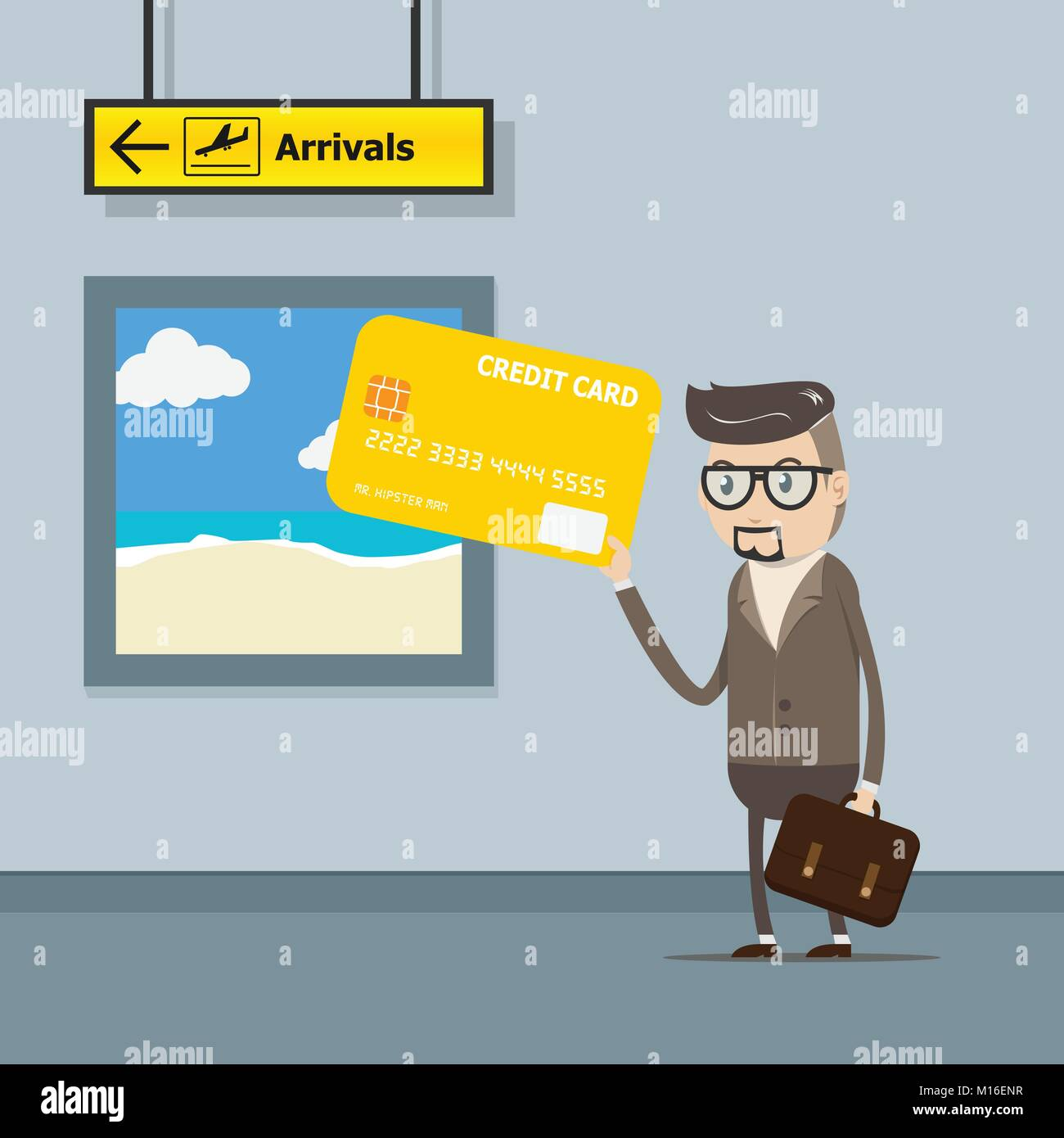 vector illustration EPS10. businessman use credit card for payment on travel trip at the airport with departure - Stock Vector