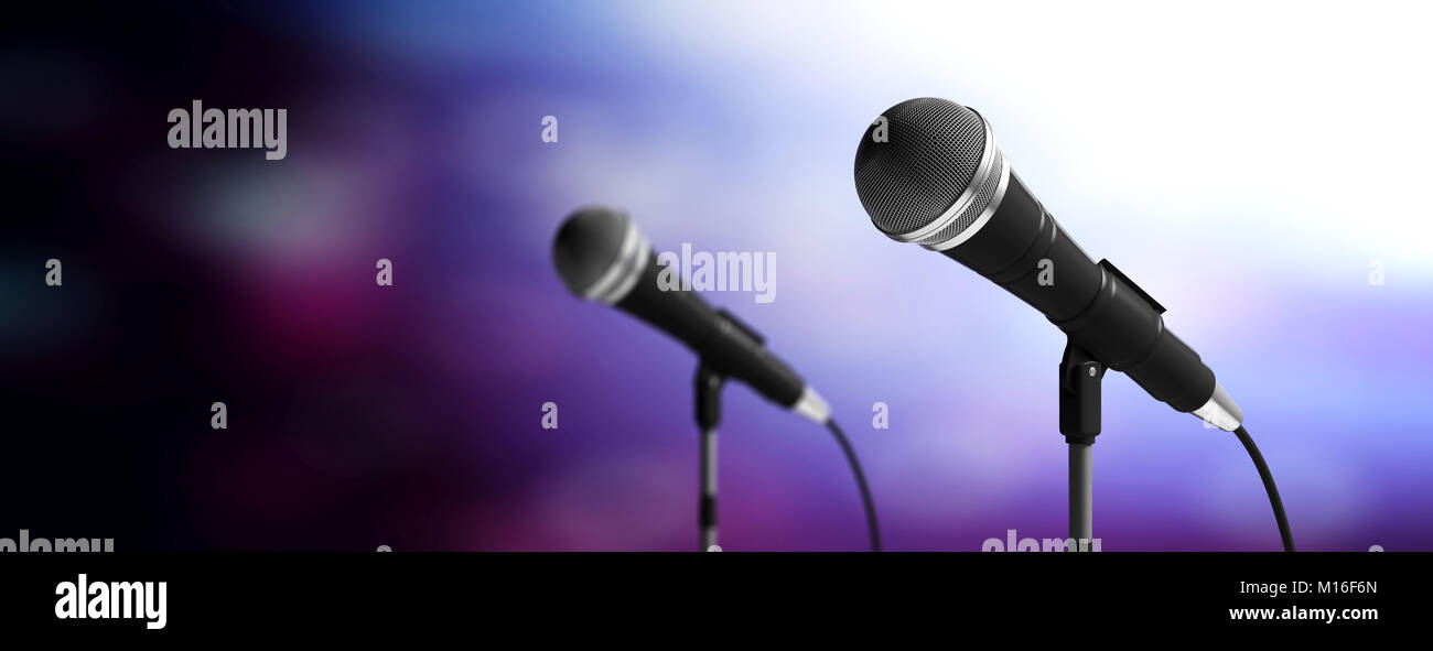 Cable microphones on stands on blue blurred background, banner, copy space. 3d illustration - Stock Image