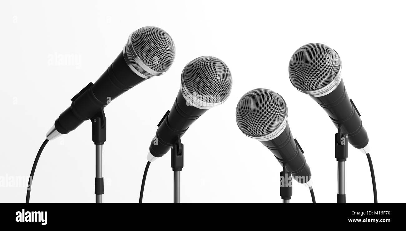 Press conference concept. Cable microphones on stands isolated on white background. 3d illustration - Stock Image