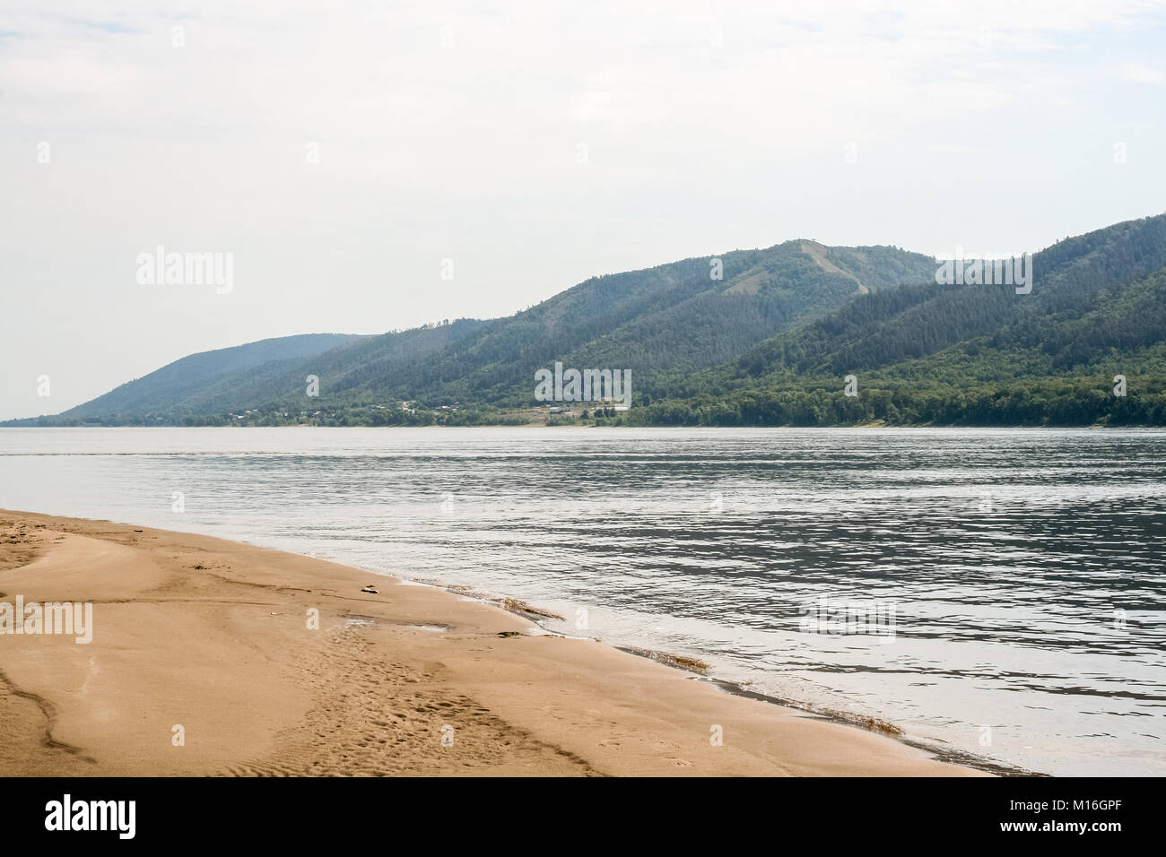 A sand braid, Zhiguli mountains and the riverbed of the Volga river. - Stock Image