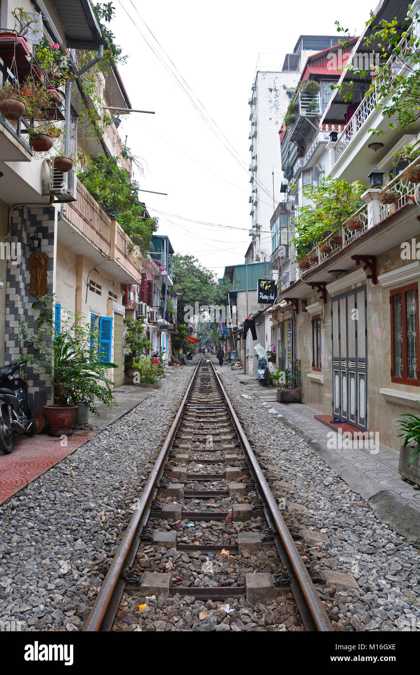 Hanoi, Vietnam - 14th December 2017. A residential street often referred to as Train Street in central Hanoi which - Stock Image