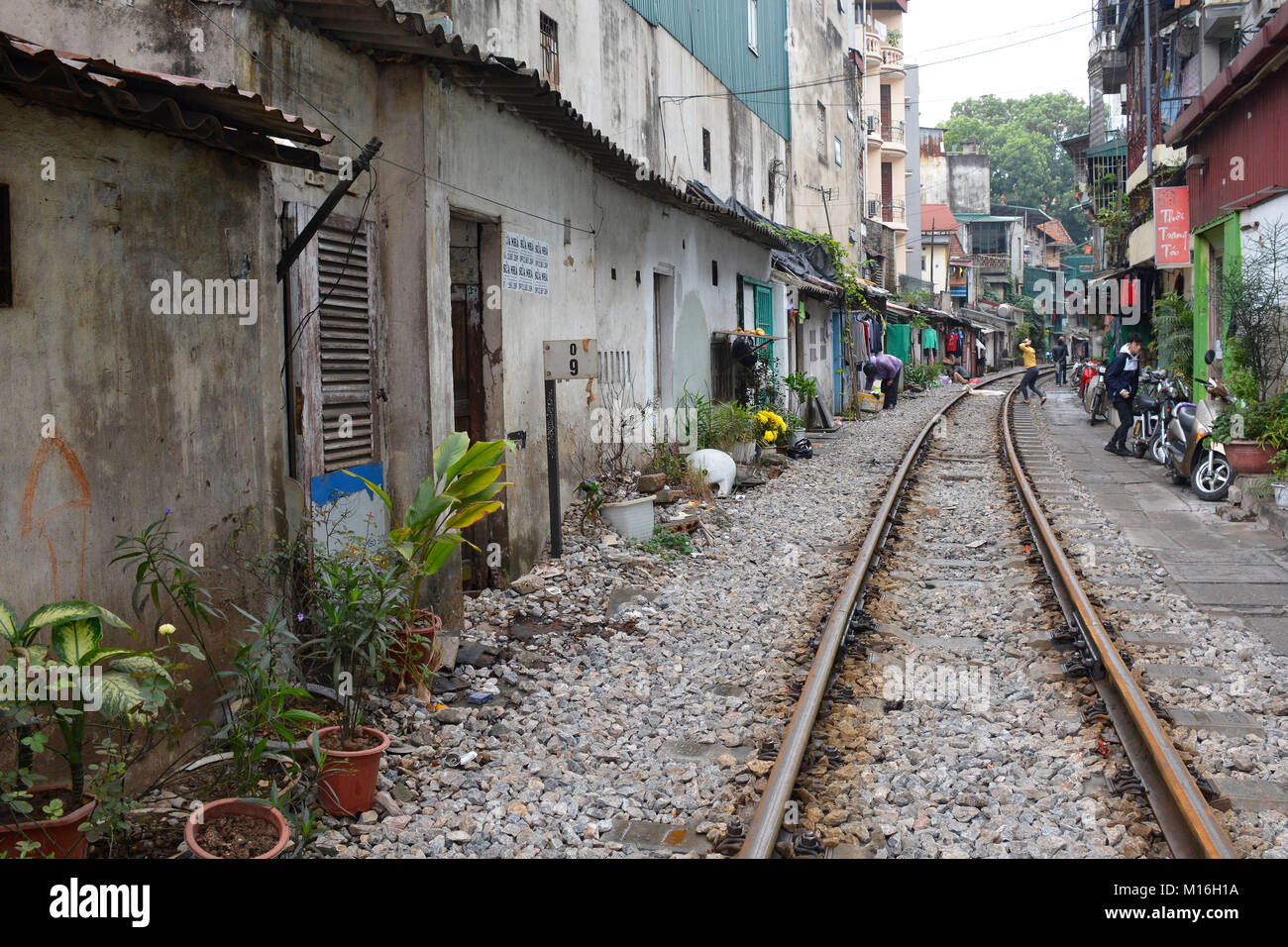 Hanoi, Vietnam - 14th December 2017. Houses on a residential street which is often referred to as Train Street in Stock Photo