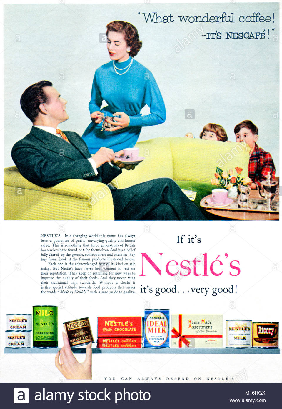 Nestle's vintage advertising 1950s - Stock Image