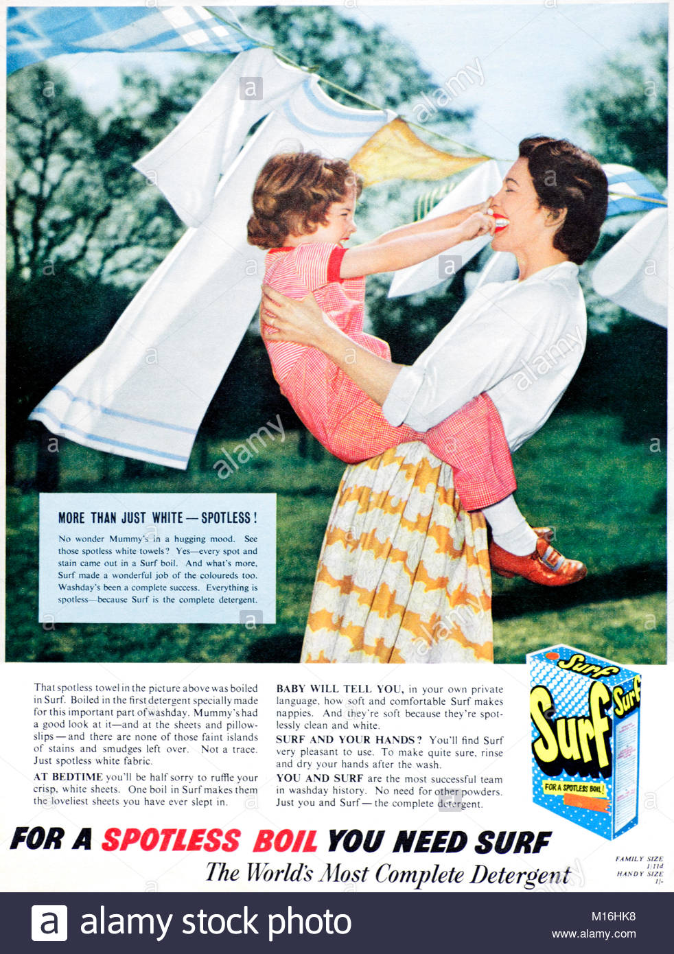 Surf Washing powder vintage advertising 1953 - Stock Image
