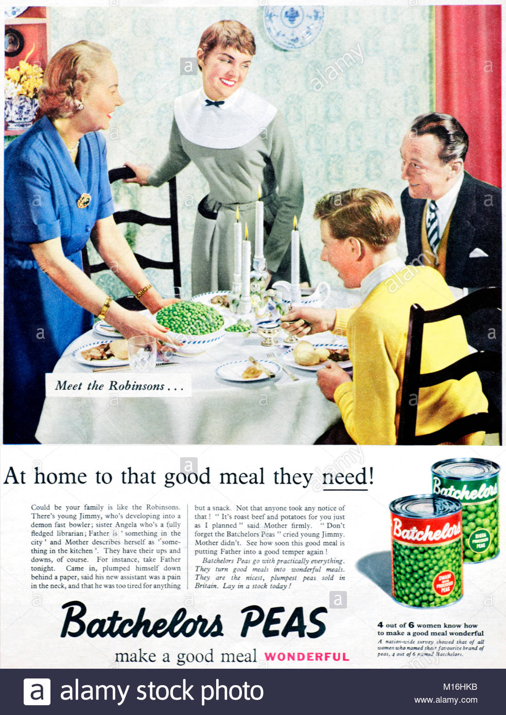 Batchelors peas vintage advertising 1955 - Stock Image