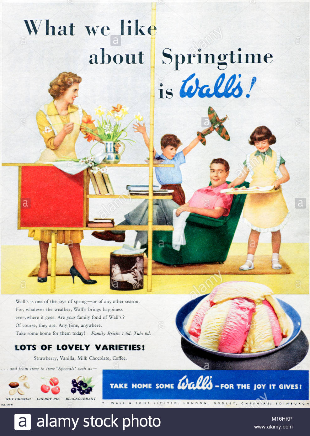 Wall's Ice cream vintage advertising 1956 - Stock Image