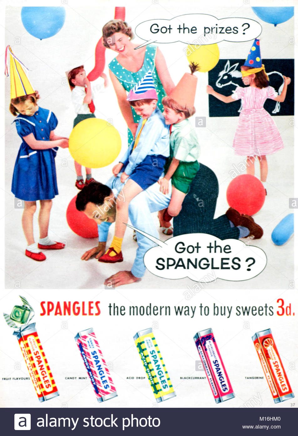 Spangles sweets vintage advertising 1950s - Stock Image