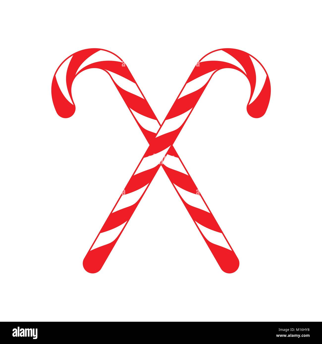 Christmas Candy Cane.Christmas Candy Cane Cross Vector Graphic Illustration Sign