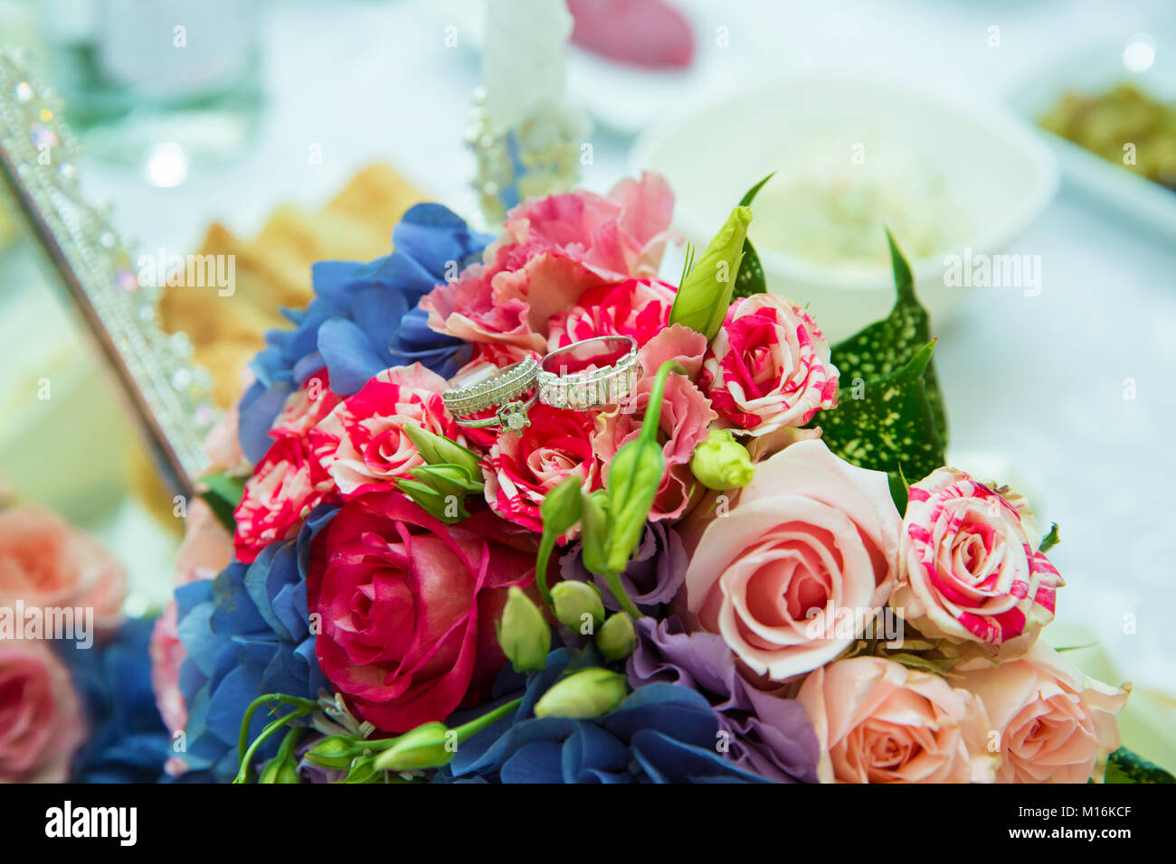 multi-colored wedding bouquet of flowers . Wedding bouquet with ...