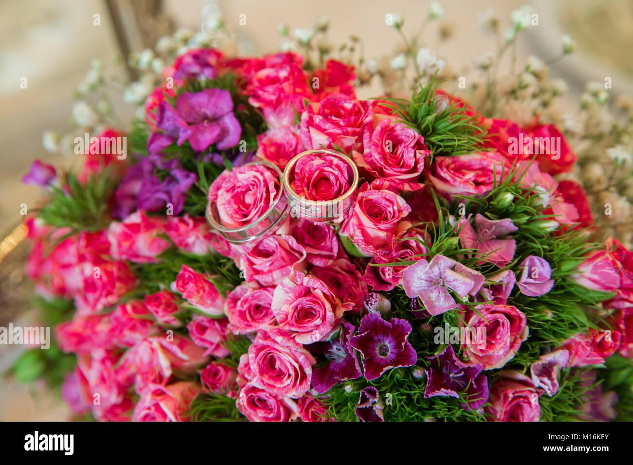Selective focus. Pink wedding bouquet of flowers . Wedding bouquet ...