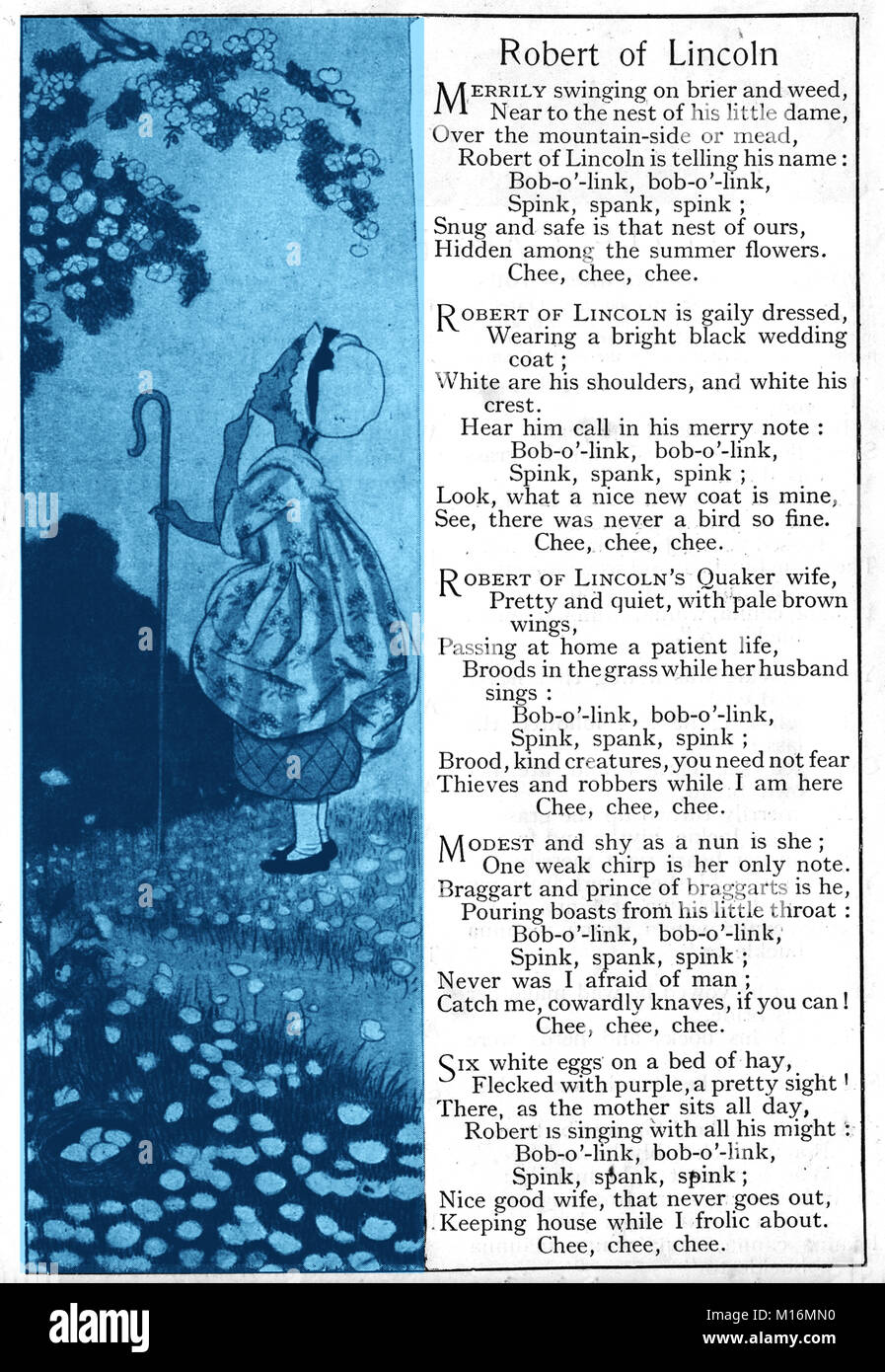 A 1921 children's book image - illustrated nursery rhyme. Poem ROBERT OF LINCOLN by William Cullen Bryant (1794–1878), - Stock Image
