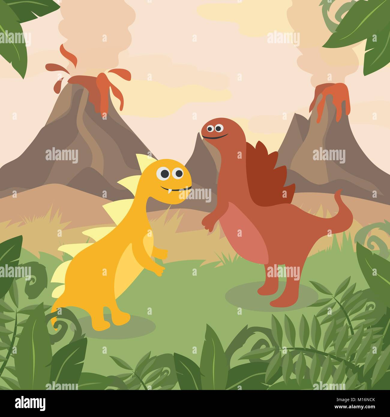 Prehistoric wildlife. Nature landscape with dinos, mountains, volcanos - Stock Vector