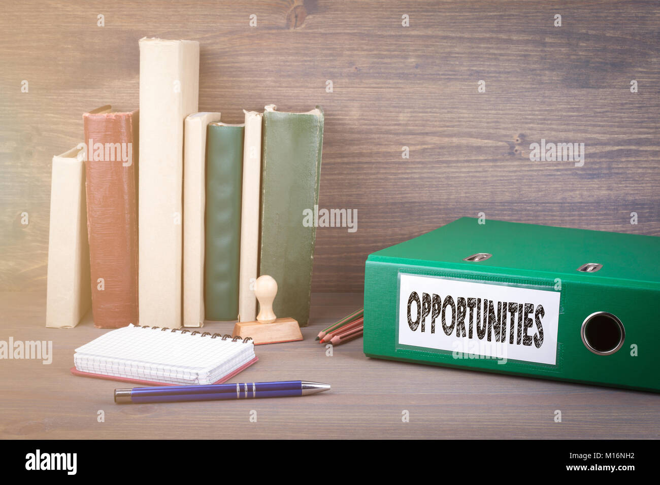 Opportunities. Binder on desk in the office. Business background  - Stock Image