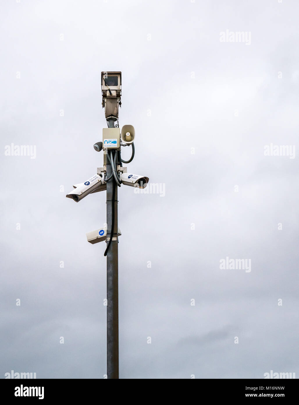 CCTV cameras and sound horn, Network Rail, Drem train station, East Lothian, Scotland, UK - Stock Image