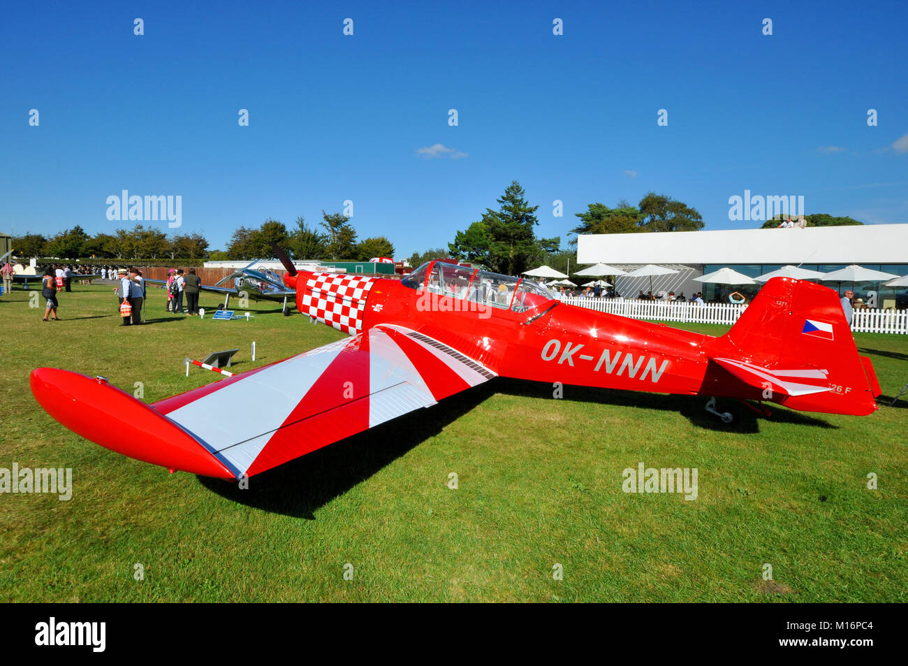 Zlin 526F OK-NNN in the Freddie March Spirit of Aviation Goodwood Revival 2016. Owned by Petr Kejdus - Stock Image