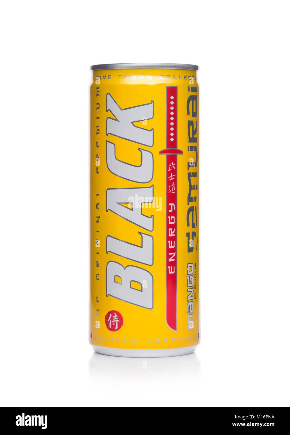 LONDON, UK - JANUARY 24, 2018: Aluminium can of Black Energy Drink Samurai Edition with mango flavor on white background.Leader - Stock Image