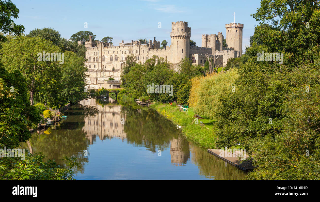 Built by William the Conqueror in 1068, Warwick Castle is a medieval castle in Warwick, the county town of Warwickshire, - Stock Image