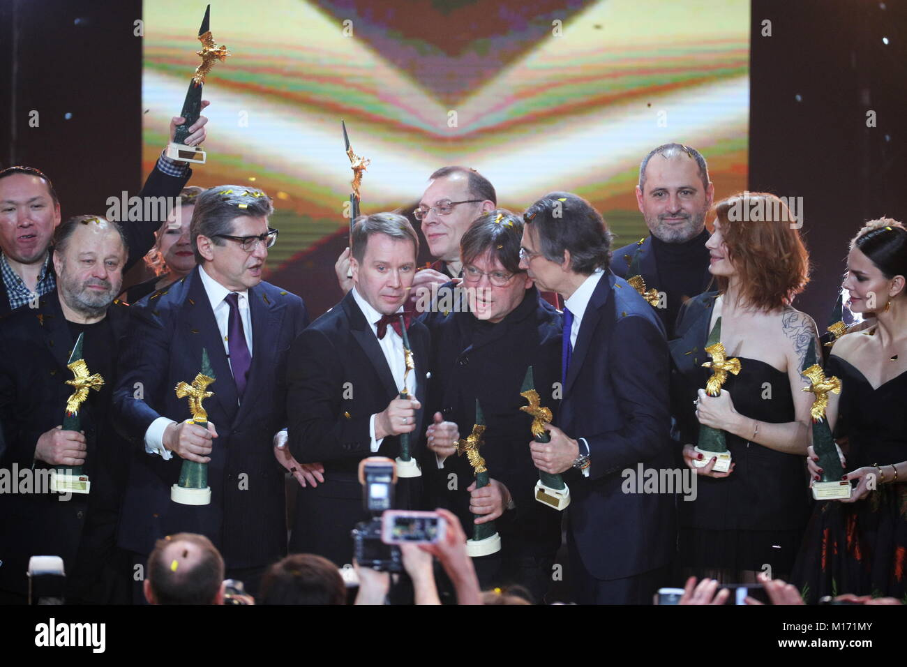 MOSCOW, RUSSIA - JANUARY 26, 2018: Best Supporting Actor award-winner Vladimir Ilyin ('The Spacewalker' - Stock Image