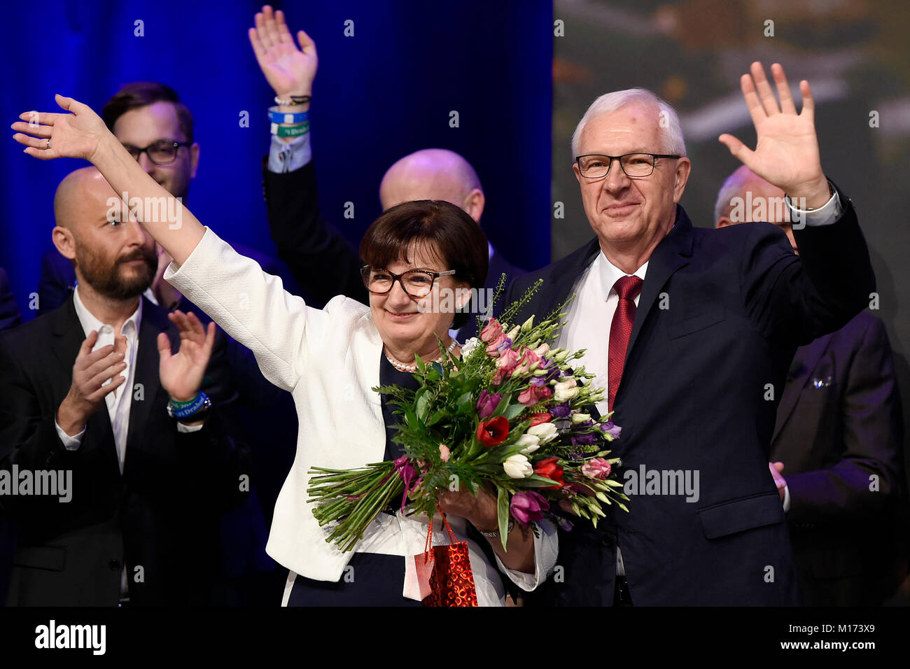 Former head of the Academy of Sciences Jiri Drahos is flanked by his wife Eva as he acknowledges defeat in the Czech - Stock Image