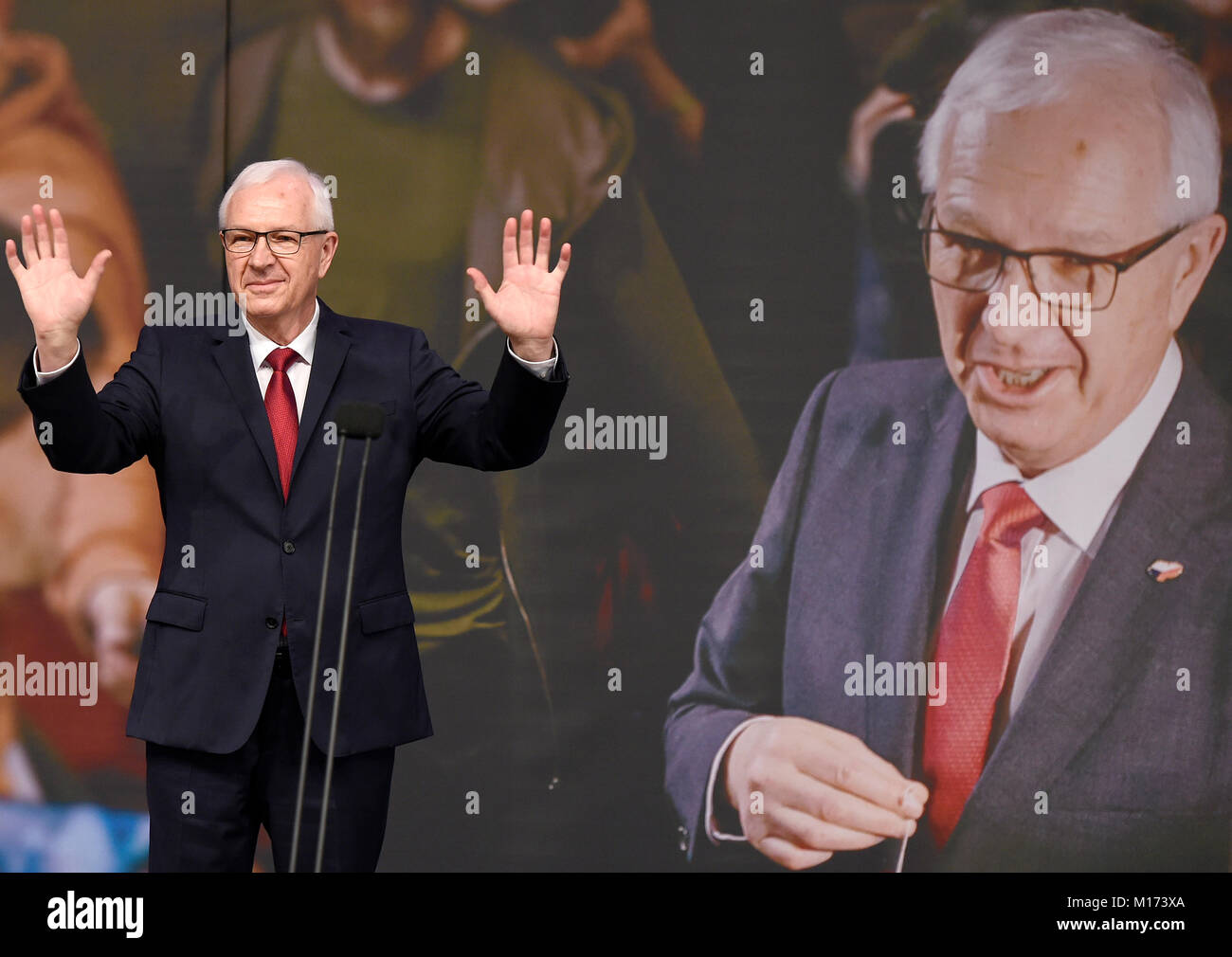 Former head of the Academy of Sciences Jiri Drahos acknowledges defeat in the Czech presidential election in Prague, - Stock Image