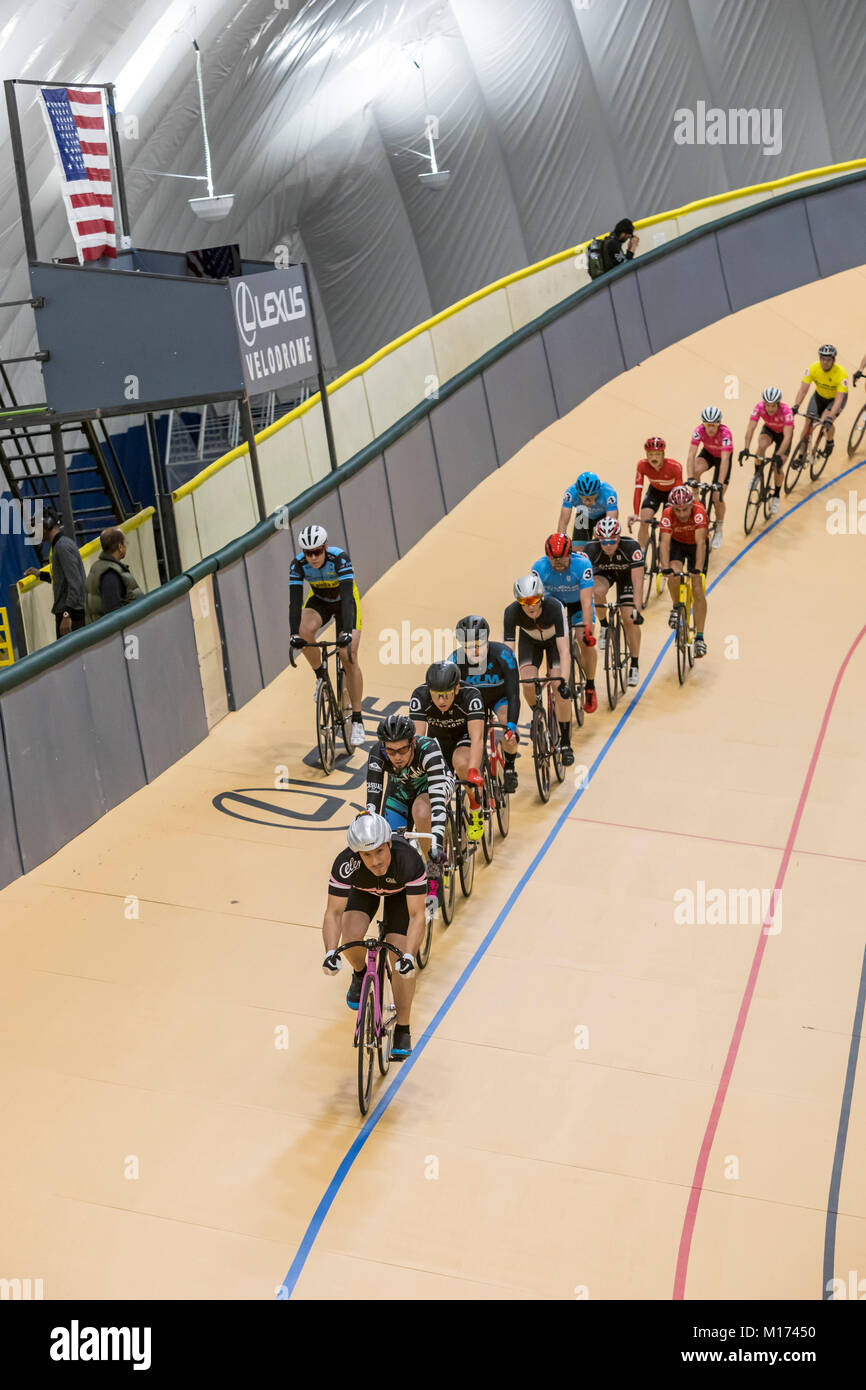 Detroit, Michigan USA - 26 January 2018 - A series of bicycle races celebrated the grand opening of the Lexus Velodrome, Stock Photo