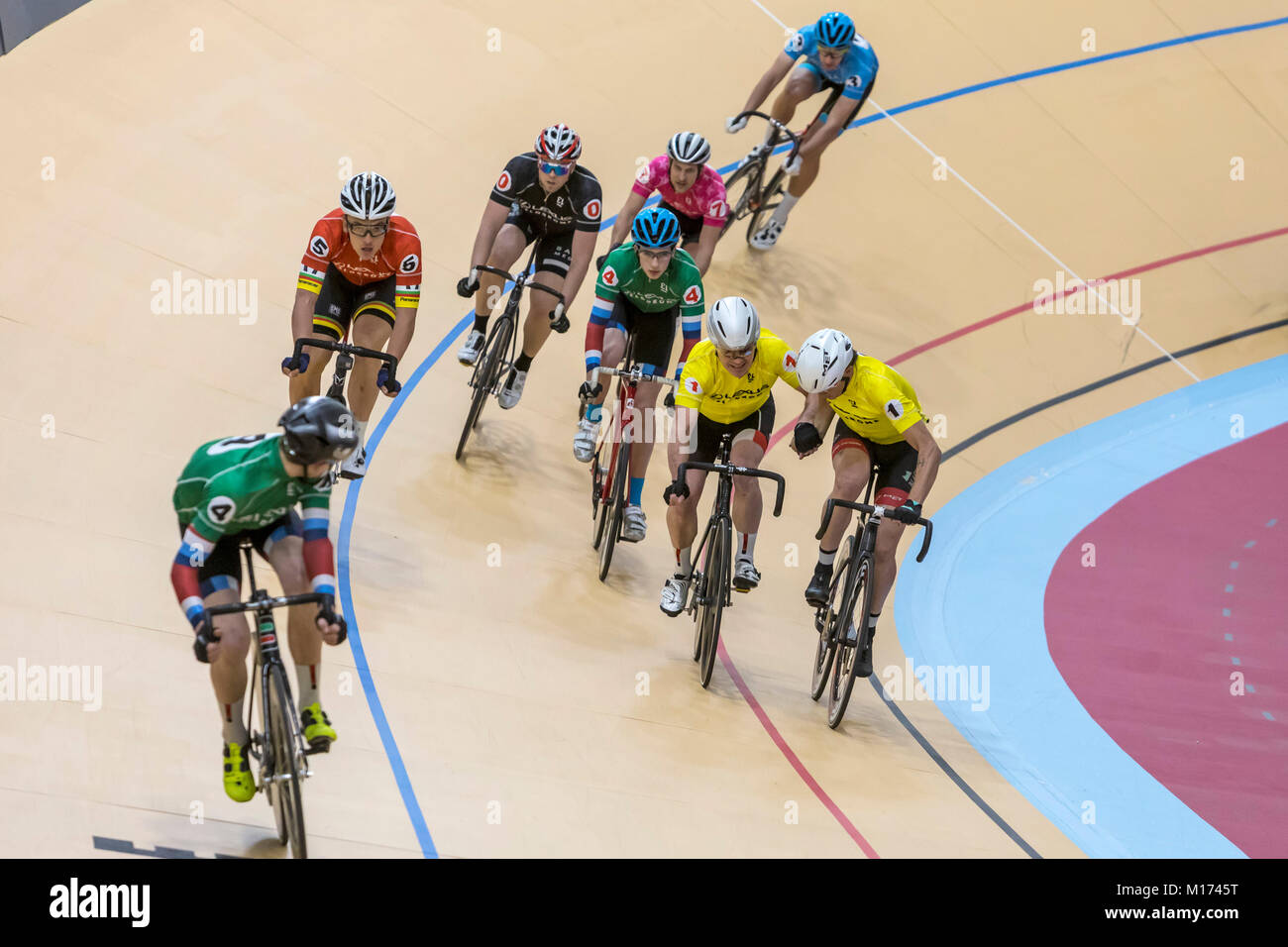 Detroit, Michigan USA - 26 January 2018 - A series of bicycle races celebrated the grand opening of the Lexus Velodrome, - Stock Image