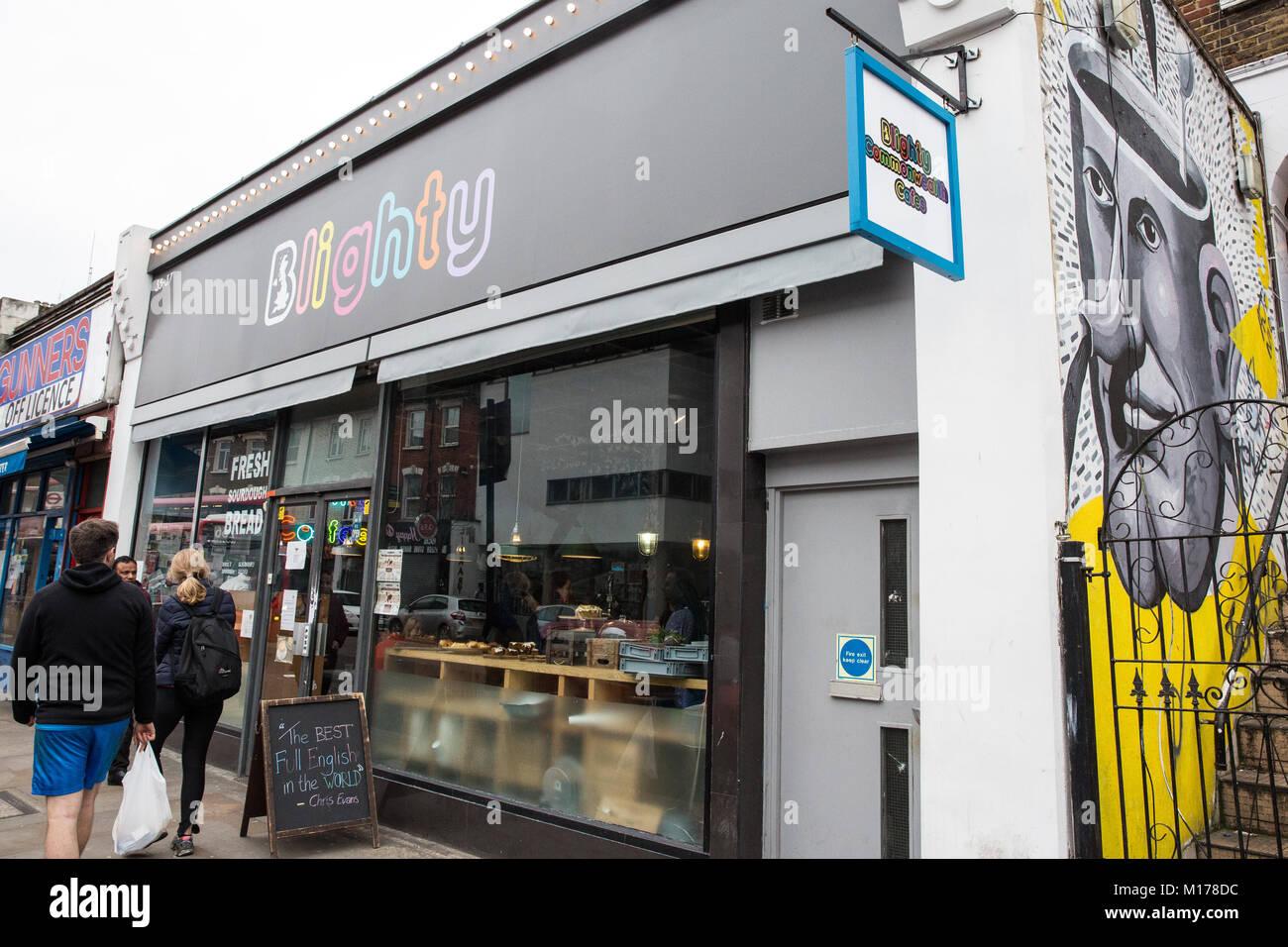 London, UK. 27th January, 2018. The Blighty UK café in Finsbury Park. The café, themed around Sir Winston - Stock Image