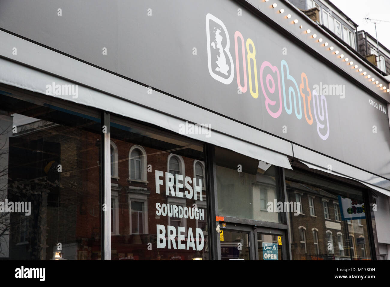 London, UK. 27th January, 2018. The Blighty UK café in Finsbury Park. The café, themed around Sir Winston - Stock Image